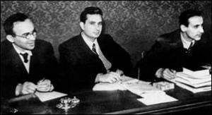 """i tre """"professorini"""" Giorgio La Pira, Aldo Moro, Giuseppe Dossetti"""